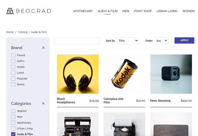 Demo product catalog in the Belgrade theme