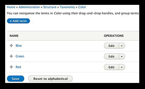 Drupal 8 taxonomy list.