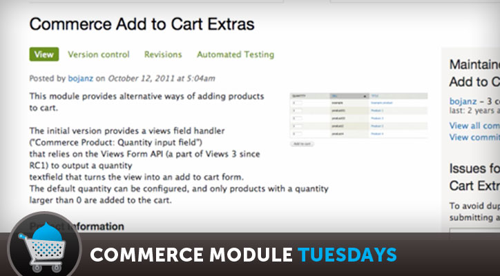 Commerce Add to Cart Extras