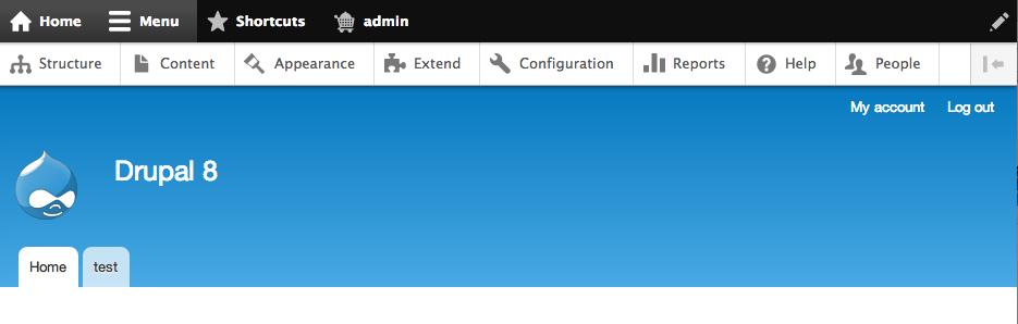 Drupal 8 Toolbar