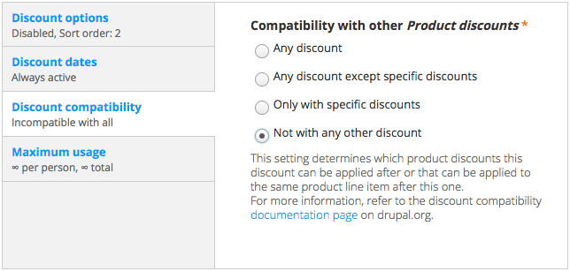 Discount compatibility settings