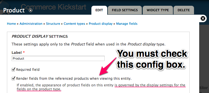 Product Reference Field Configuration Screen