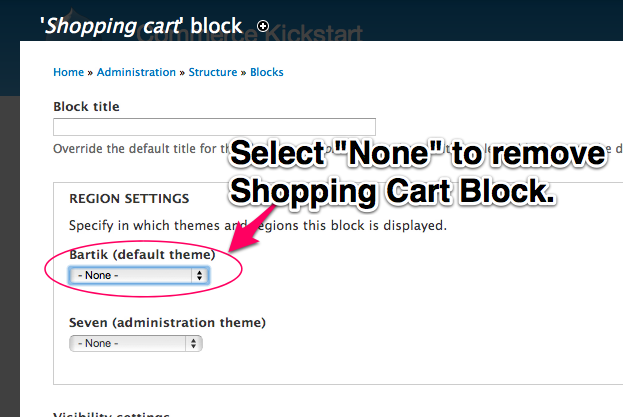Select None         to remove the Shopping Cart from your theme.