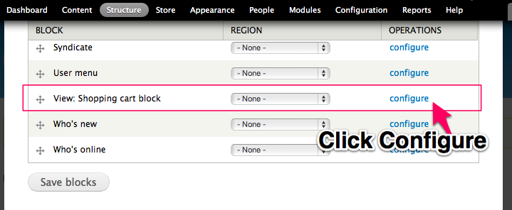 Click Configure to Enable your new block.