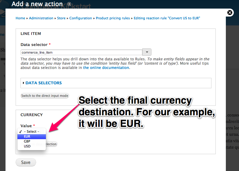 Select the final         currency destination. For our example, it will be EUR.