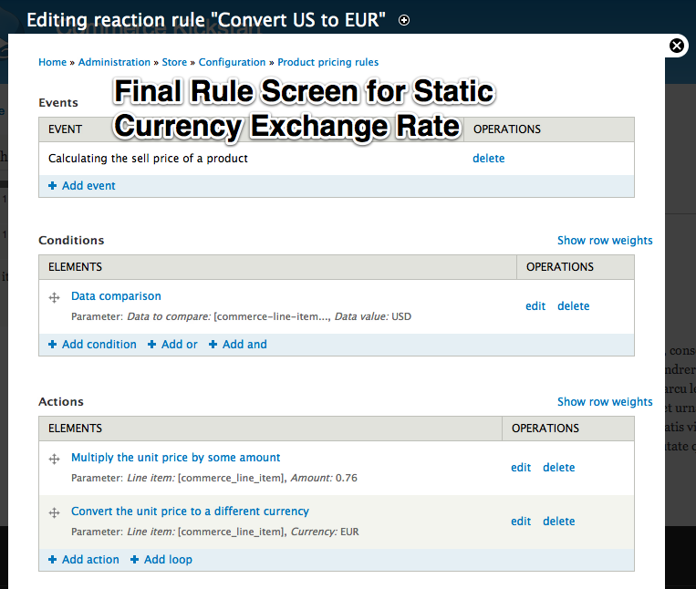 Final rule         screen for Static Currency Exchange Rate.
