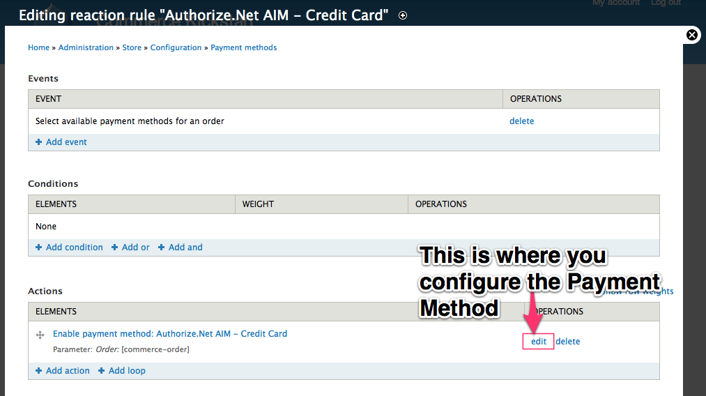 This is where you configure the Payment Method.