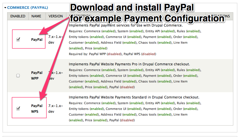 Enable PayPal for example Off-Site Payment configuration.