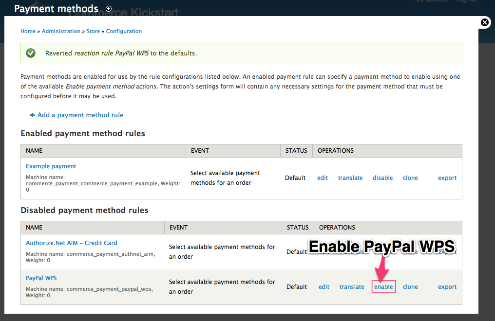 Enable the Off-Site Payment Method example PayPal