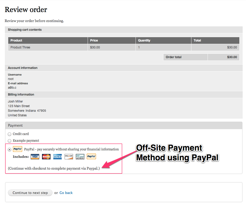 You can see our PayPal payment method has been enabled.