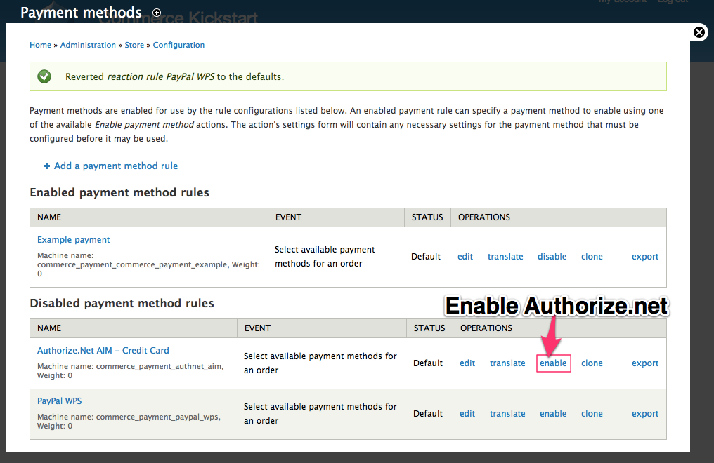Enable the On-Site Payment Method example Authorize.net