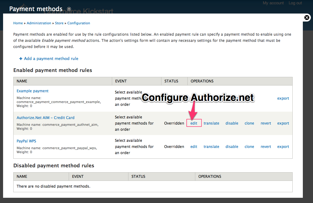 Configure Authorize.net