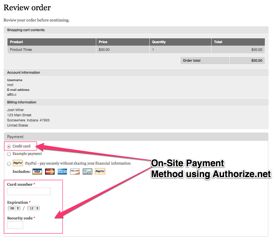 You can see our credit card payment method has been enabled.