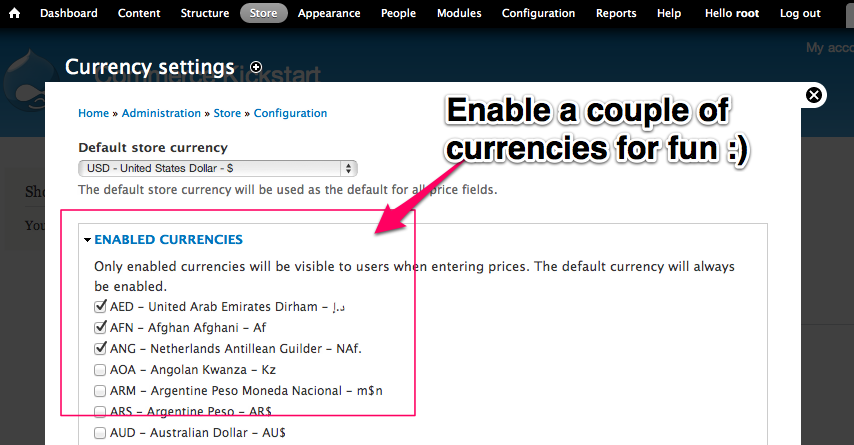 Enable a couple of currencies for fun