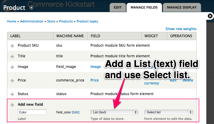 Add a List (text) field