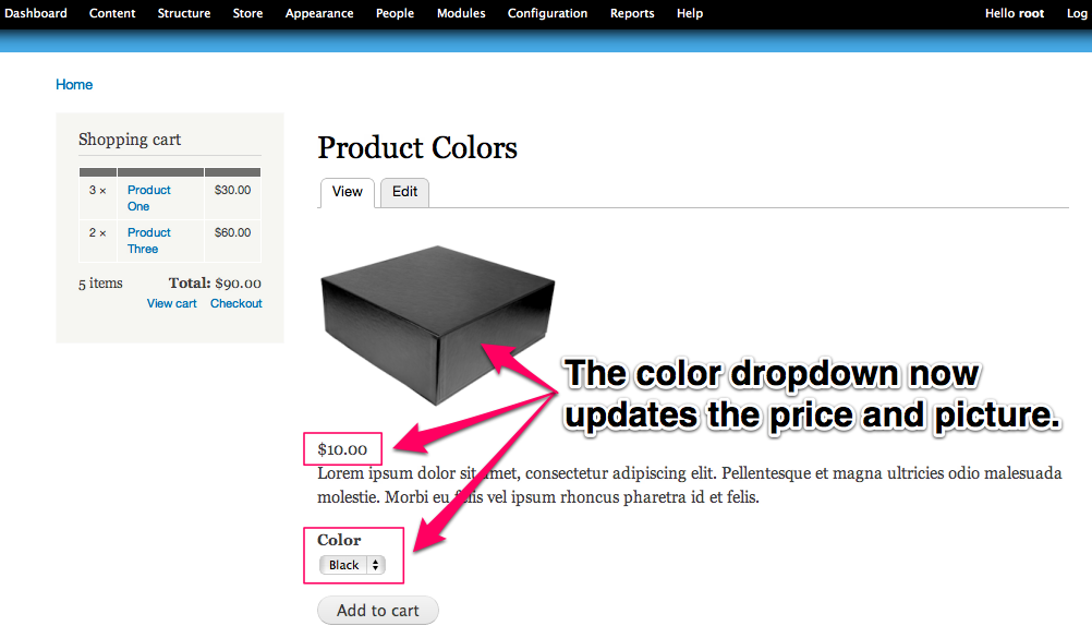 The color drop down now