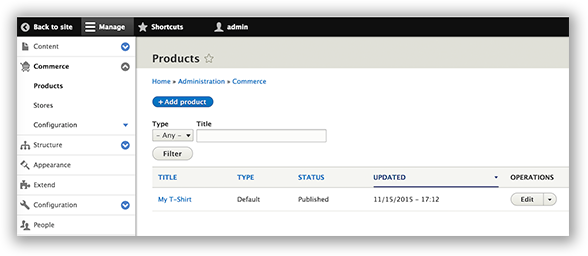 Drupal 8 product list.