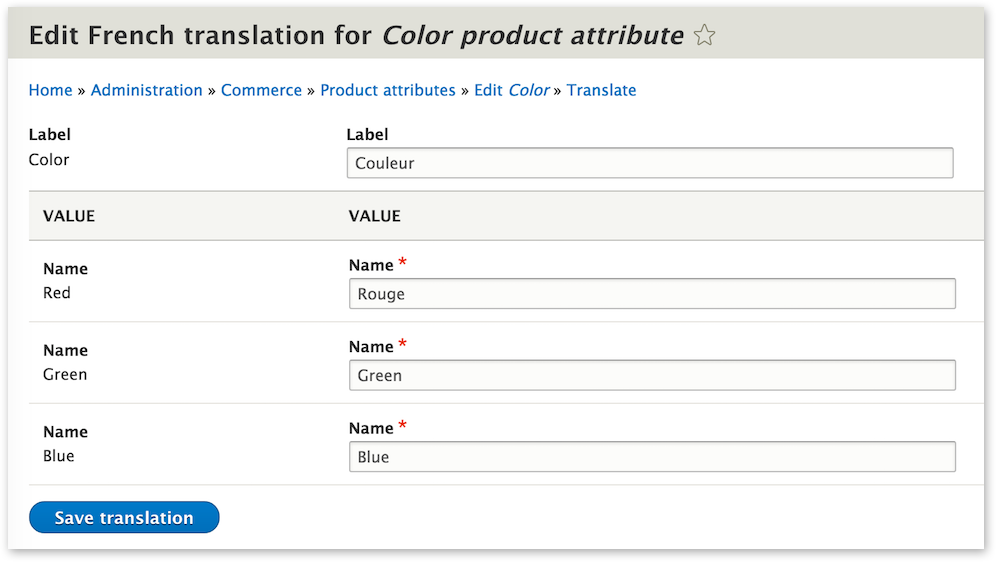 Translating a Color product attribute
