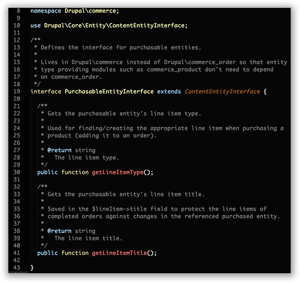 Code snippet of the PurchasableEntityInterface.