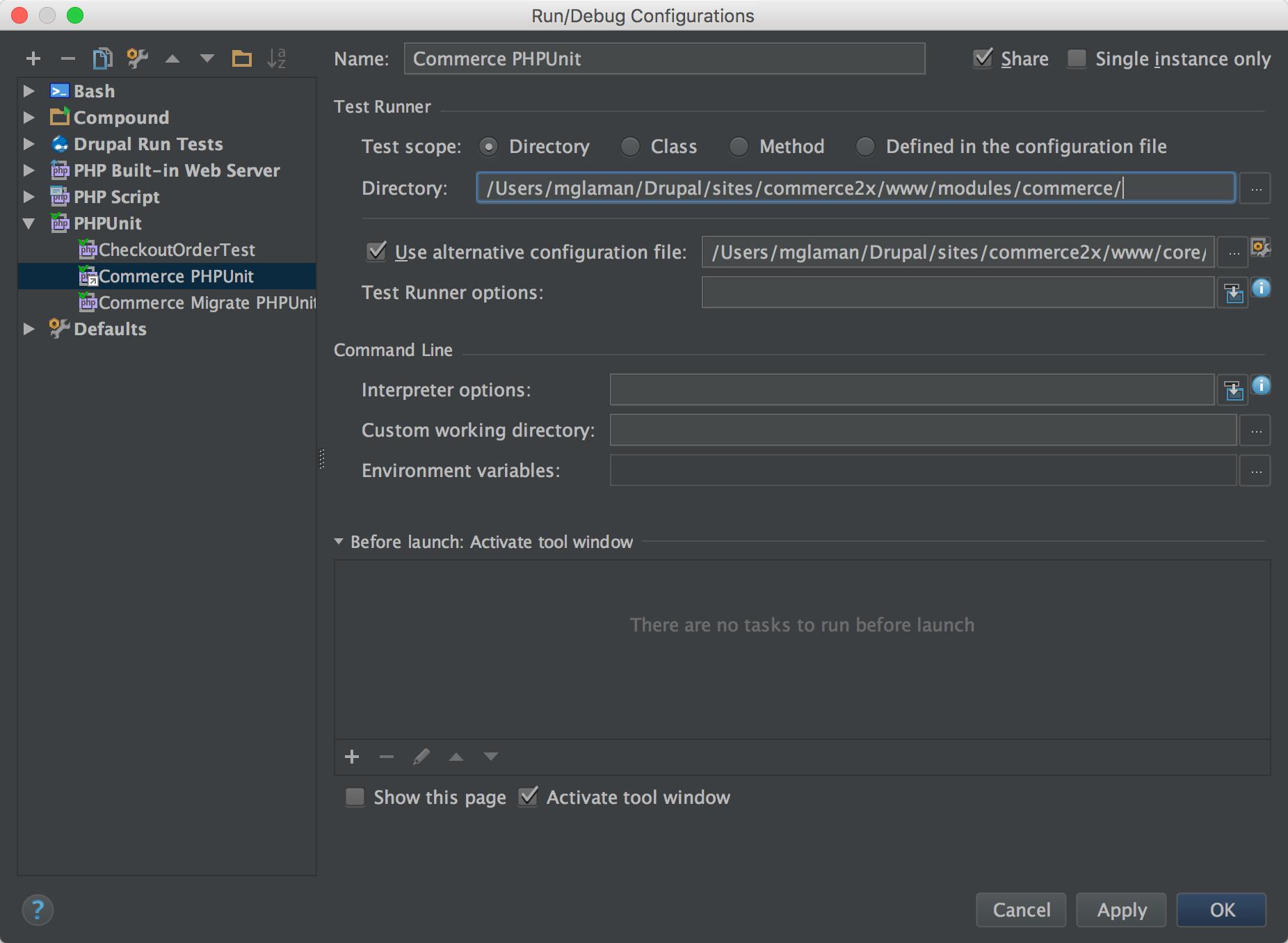PHPUnit run configuration